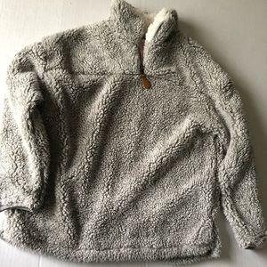 Cozy teddy sweater with zipper
